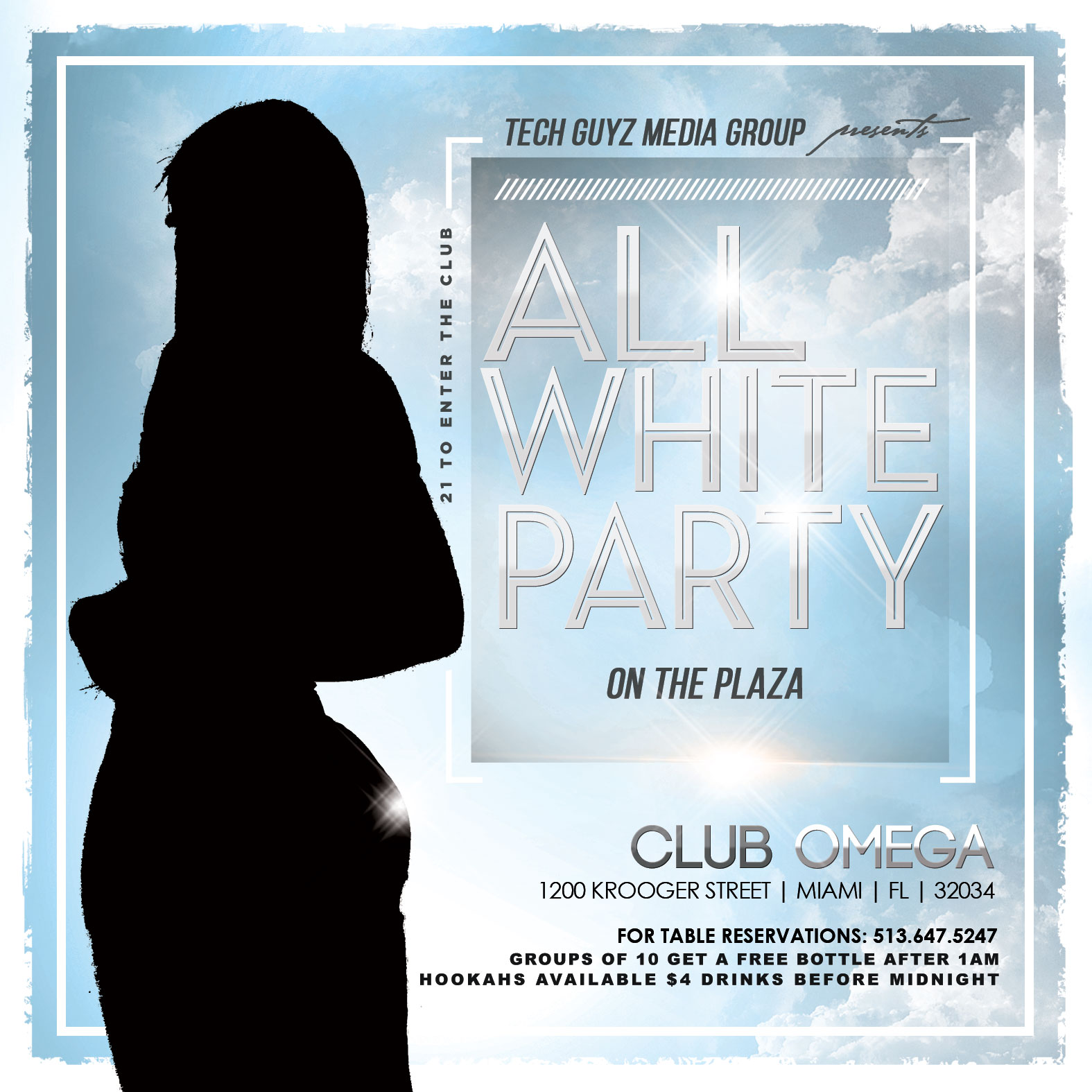 All White event flyer